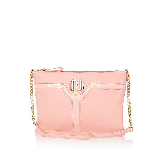 Pink cut out panel cross body bag