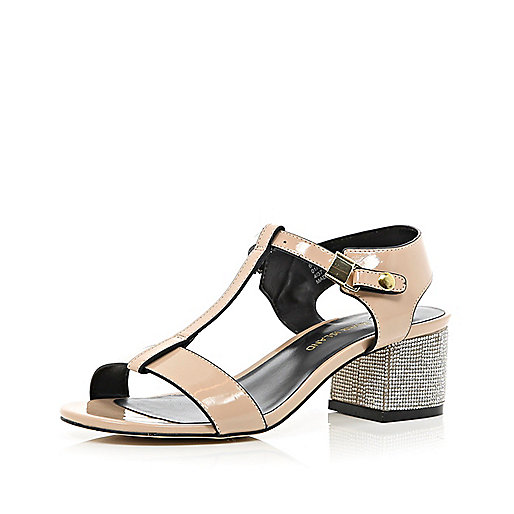 Light pink patent diamante heel sandals