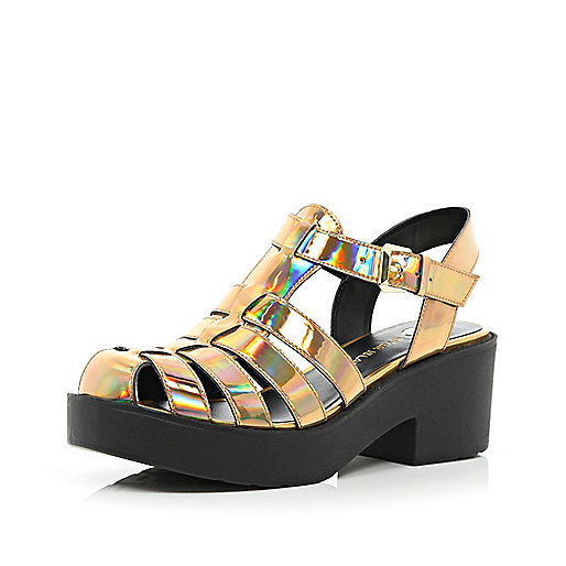 Gold metallic block heel gladiator sandals