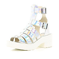Silver chunky high leg gladiator sandals
