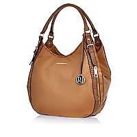 Tan zip side slouch bag