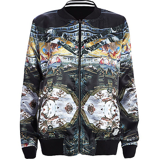 Black Hack reversible satin bomber jacket
