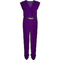 Purple wrap front belted jumpsuit