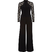 Black lace sleeve flared jumpsuit