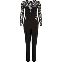 Black lace insert plunge jumpsuit
