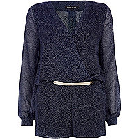 Navy polka dot metal plate belt wrap playsuit