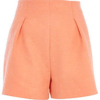 Coral floral quilted high waisted shorts