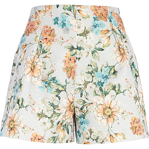Light grey floral print high waisted shorts