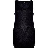 Black knitted longline vest