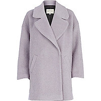 Light purple boucle oversized coat
