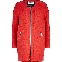 Orange collarless boucle coat