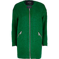 Green collarless boucle coat