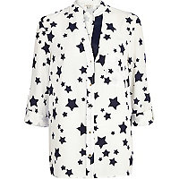Cream star print roll sleeve shirt