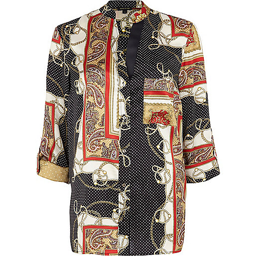 Black scarf print silky roll sleeve shirt