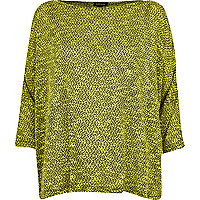Lime patterned boxy jumper
