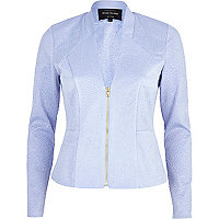 Light blue textured jersey jacket