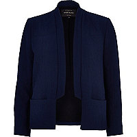 Navy inverted collar blazer