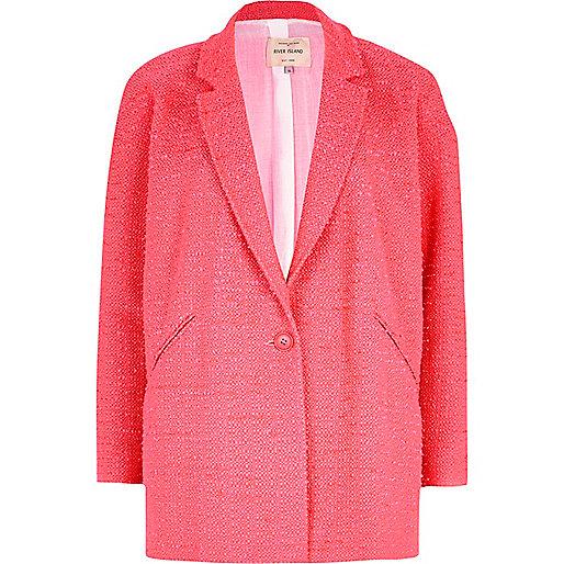 Pink boucle oversized coat
