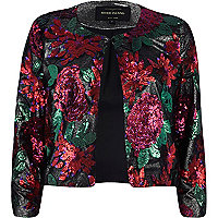 Red floral sequin embellished jacket