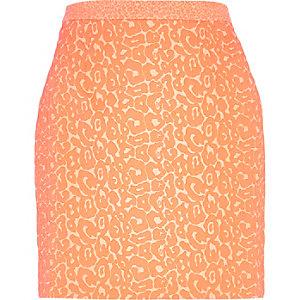 Pink animal print jacquard A line skirt