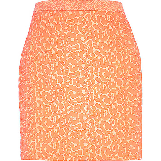 Pink animal print jacquard A line skirt