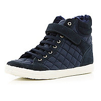 Navy quilted panel high tops