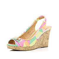 Pink geometric print sling back canvas wedges
