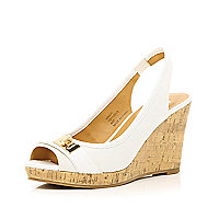 White sling back canvas wedges