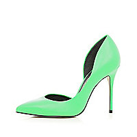 Green cut out side court shoes