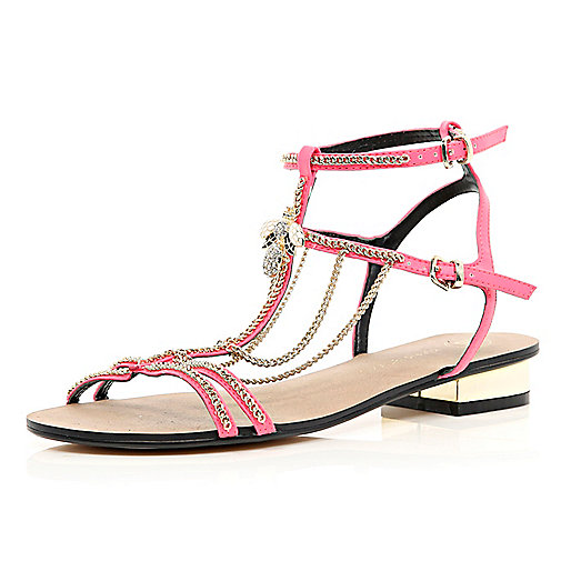 Bright pink block heel chain trim sandals