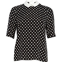 Navy polka dot contrast collar top