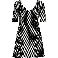 Black polka dot jacquard skater dress