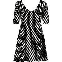 Black polka dot jacquard skater dress