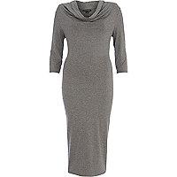 Grey cowl neck midi dress
