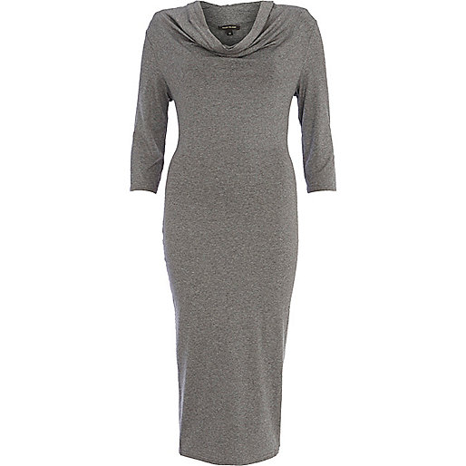 Grey cowl neck midi dress