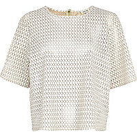 Cream laser cut leather-look boxy t-shirt
