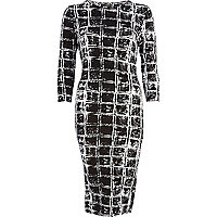 Black scratchy square print column dress
