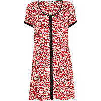 Red floral print tea dress
