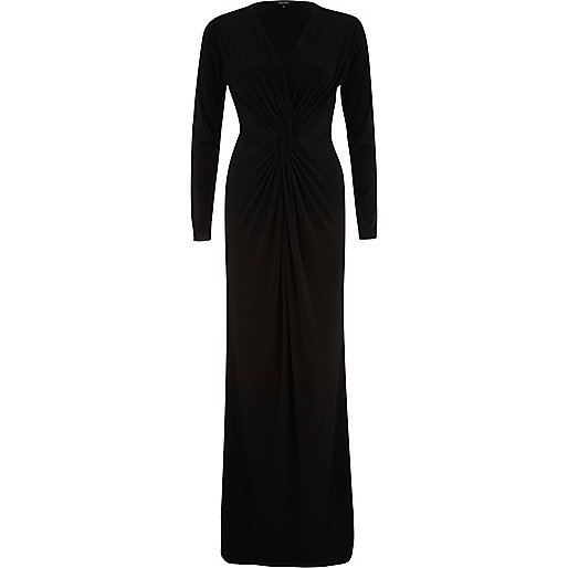 Black V neck knot front maxi dress