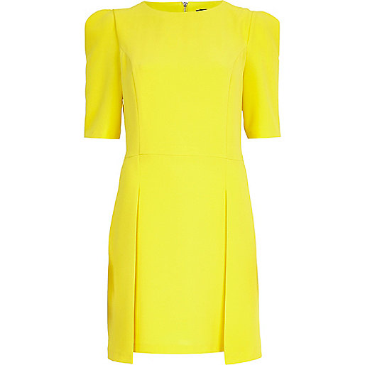 Yellow stepped hem shift dress
