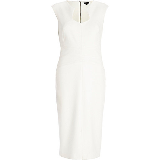Cream cut out neckline bodycon dress