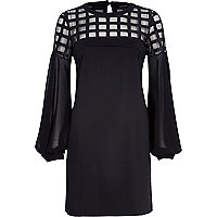 Black caged mesh bell sleeve dress