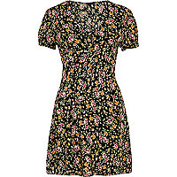 Black ditsy print tea dress