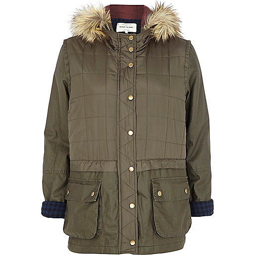 Khaki double layer parka jacket