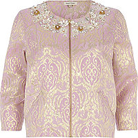 Pink foiled flower embellished jacket