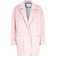 Light pink drawn wool-blend oversized coat