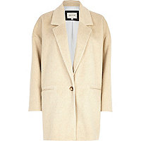Beige drawn wool-blend oversized coat