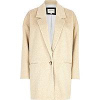 Beige drawn wool-blend oversized coat