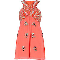 Coral embellished smart playsuit