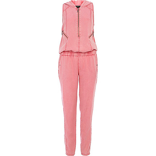 Pink hooded casual jumpsuit